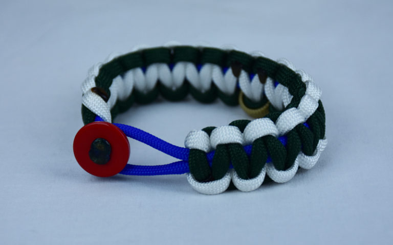 blue white and emerald pediatric cancer support paracord bracelet with red button front and gold ribbon