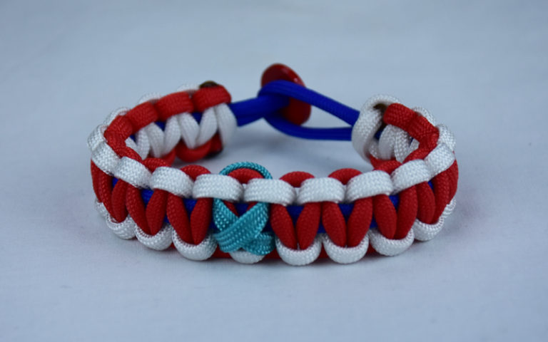 blue white and red ptsd support paracord bracelet with red button in back and teal ribbon