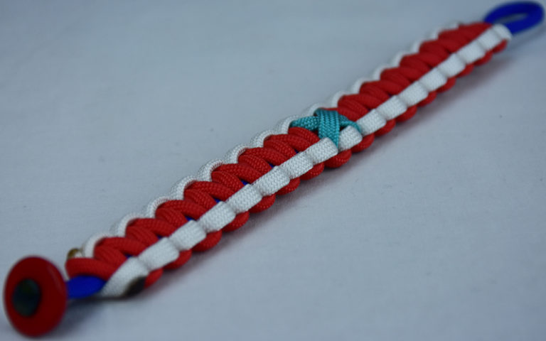 blue white and red ptsd support paracord bracelet with red button corner and teal ribbon