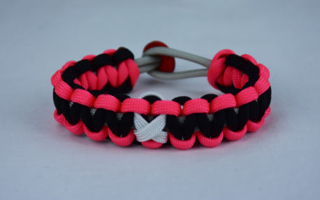 grey pink and black multiple sclerosis support paracord bracelet w red button back and white ribbon