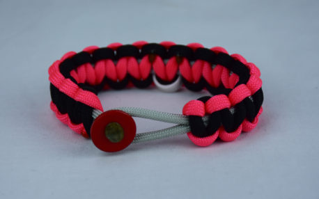 grey pink and black multiple sclerosis support paracord bracelet w red button front and white ribbon