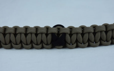 od green and tan pow mia support paracord bracelet with black ribbon in the center