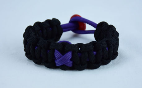 purple and black alzheimers support paracord bracelet with red button in the back and a purple ribbon
