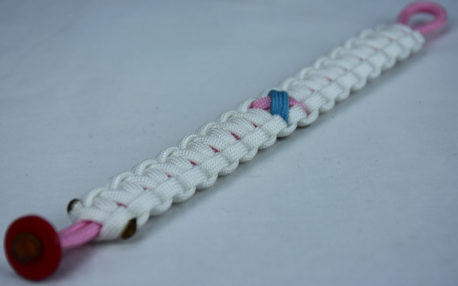 soft pink and white sids support paracord bracelet with red button in the corner and tarheel blue and pink ribbon