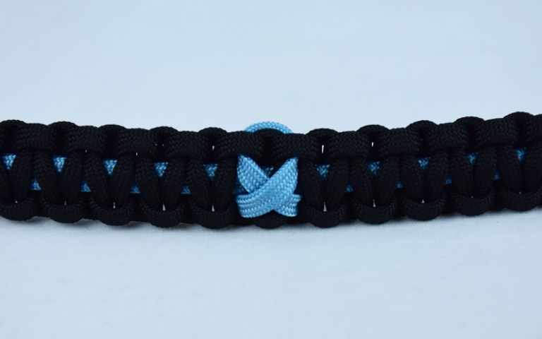 tarheel blue and black prostate cancer support paracord bracelet with tarheel blue ribbon