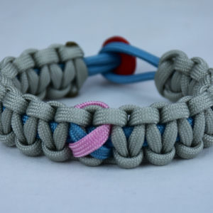 tarheel blue and grey sids support paracord bracelet with red back and tarheel blue and pink ribbon