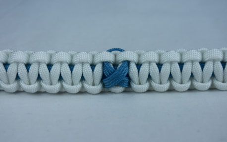 tarheel blue and white prostate cancer support paracord bracelet with tarheel blue ribbon in the center