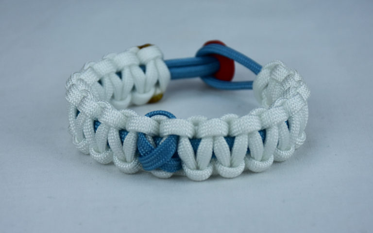 tarheel blue and white prostate cancer support paracord bracelet with red button back and tarheel blue ribbon