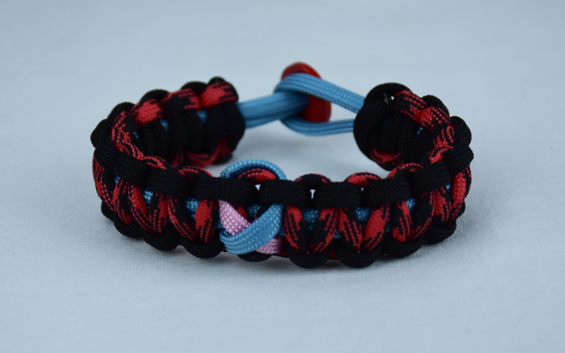 tarheel blue black and red and black camouflage sids support paracord bracelet with red button back and tarheel blue and soft pink ribbon