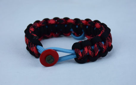 tarheel blue black and red and black camouflage sids support paracord bracelet with red button front and tarheel blue and soft pink ribbon