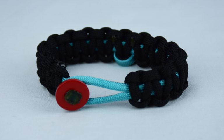 teal and black ptsd support paracord bracelet with red button in the front and teal ribbon