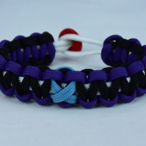 white purple and black prostate cancer support paracord bracelet with red button back and tarheel blue ribbon