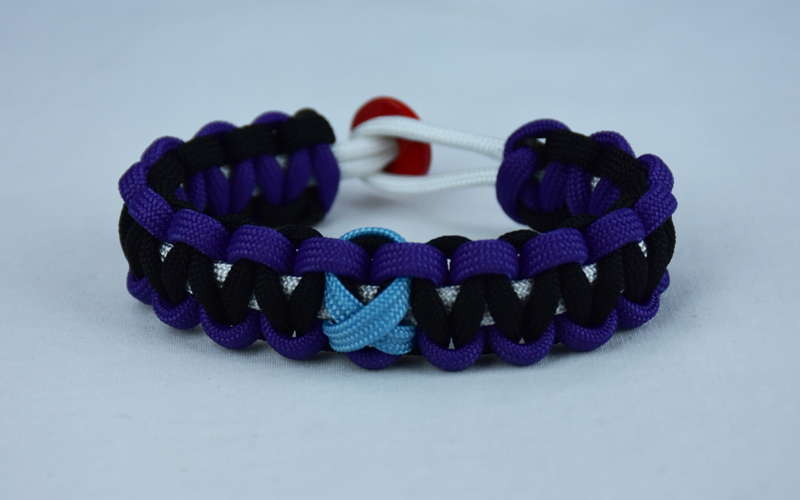 White Purple And Black Prostate Cancer Support Paracord Bracelet With Red On Back Tarheel Blue