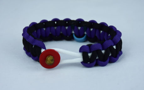 white purple and black prostate cancer support paracord bracelet with red button front and tarheel blue ribbon