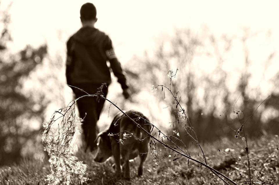 black and white photo of a boy walking his dog