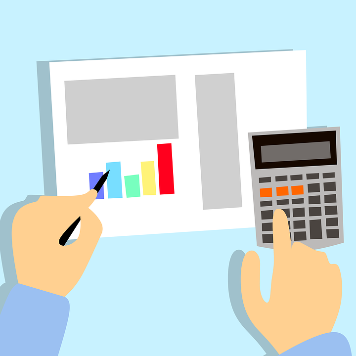 animated picture of hands and a calculator going through a budget